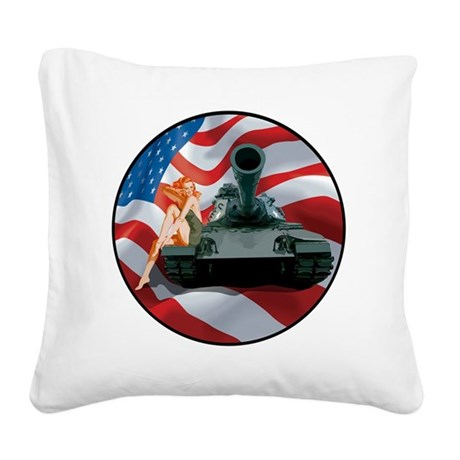 Tank Pinup Girl Square Canvas Pillow