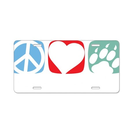 Peace-Love-Cat-2009-blk Aluminum License Plate