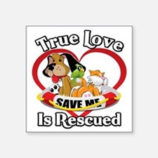 "Rescued-Love-2009-blk Square Sticker 3"" x 3"""