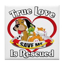 Rescued-Love-2009-blk Tile Coaster