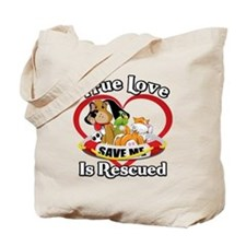 Rescued-Love-2009-blk Tote Bag