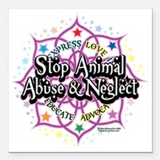 "Animal-Rights-Lotus Square Car Magnet 3"" x 3"""