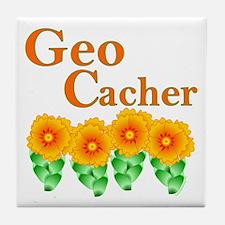 Orange Geocacher Tile Coaster