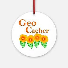 Orange Geocacher Ornament (Round)