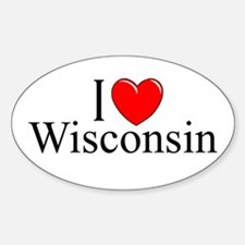 """I Love Wisconsin"" Oval Decal"
