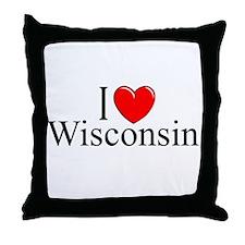 """I Love Wisconsin"" Throw Pillow"