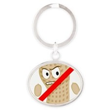 No Peanuts Food Allergy Button of Ki Oval Keychain
