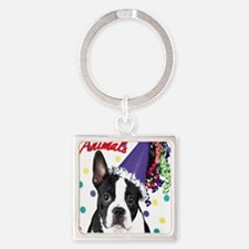 Boston Terrier Birthday Card outsi Square Keychain