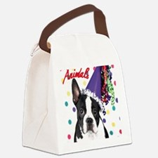 Boston Terrier Birthday Card outs Canvas Lunch Bag