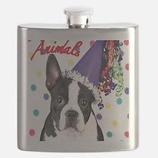 Boston Terrier Birthday Card outside Flask