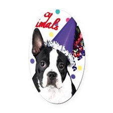 Boston Terrier Birthday Card outsi Oval Car Magnet