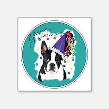 "boston terrier party animal Square Sticker 3"" x 3"""