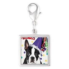 Boston Terrier Birthday Card  Silver Square Charm