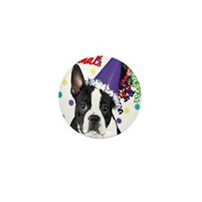 Boston Terrier Birthday Card outside Mini Button