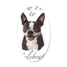 Boston Terrier Birthday Card insid Oval Car Magnet