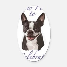 Boston Terrier Birthday Card insid Oval Car Magnet