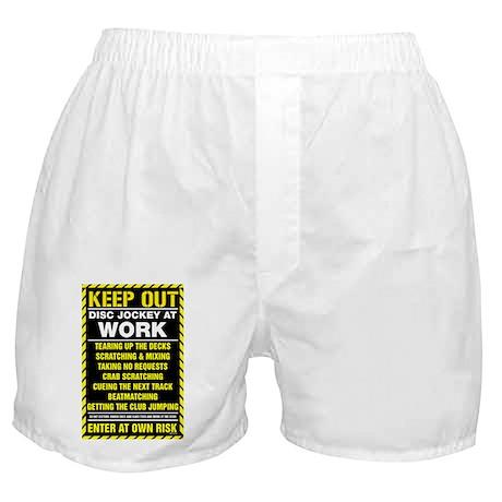 Keep Out Disc Jockey At Work Poster Boxer Shorts