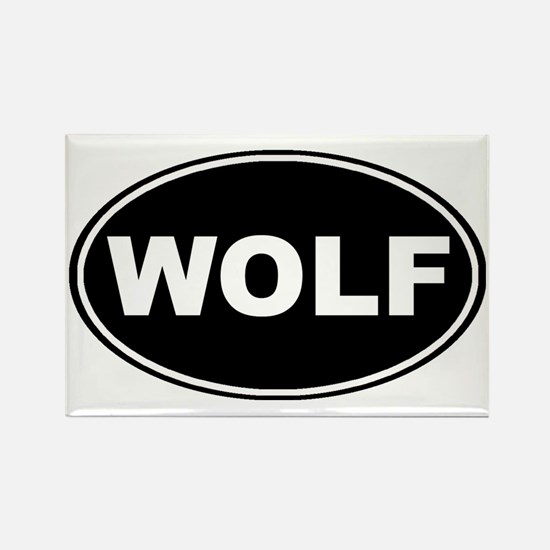 Wolf oval-black Rectangle Magnet