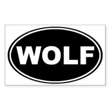 Wolf oval-black Bumper Stickers