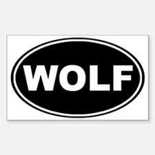 Wolf oval-black Sticker (Rectangle)