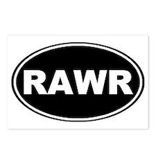 Rawr oval-black Postcards (Package of 8)