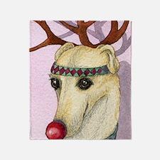 Red nosed reindog Throw Blanket