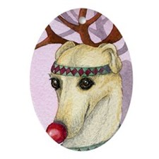 Red nosed reindog Oval Ornament