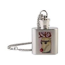 Red nosed reindog Flask Necklace