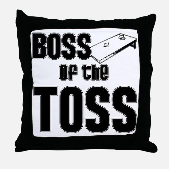 Cornhole_Boss_Black Throw Pillow