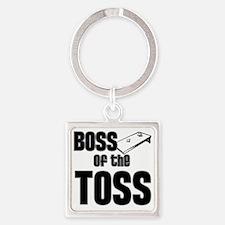 Cornhole_Boss_Black Square Keychain