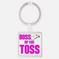 Cornhole_Boss_Pink Square Keychain