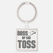 Cornhole_Boss_Grey Square Keychain