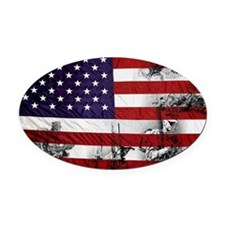 SOLDIER FLAG Oval Car Magnet