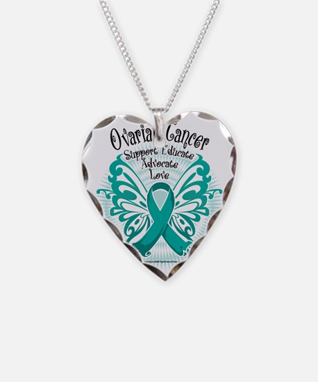 Ovarian-Cancer-Butterfly-3 Necklace Heart Charm