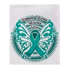 Ovarian-Cancer-Butterfly-3-blk Throw Blanket