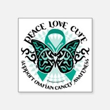 "Ovarian-Cancer-Butterfly-Tr Square Sticker 3"" x 3"""
