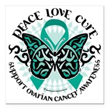 "Ovarian-Cancer-Butterfly Square Car Magnet 3"" x 3"""