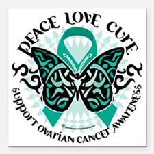"""Ovarian-Cancer-Butterfly Square Car Magnet 3"""" x 3"""""""