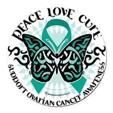 Ovarian-Cancer-Butterfly-Tribal-2 Round Car Magnet
