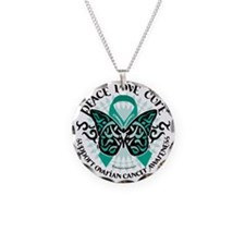 Ovarian-Cancer-Butterfly-Tri Necklace Circle Charm