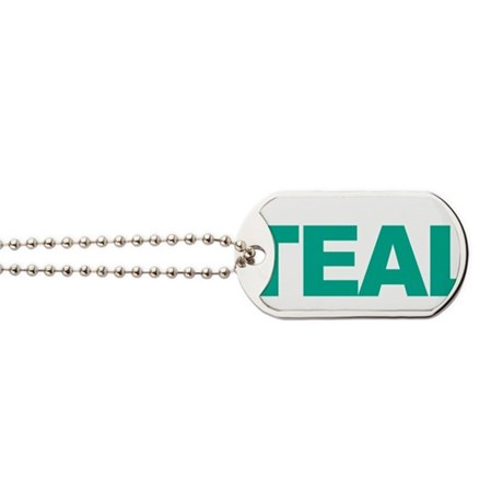 Think-TEAL-Ovarian-Cancer-blk Dog Tags