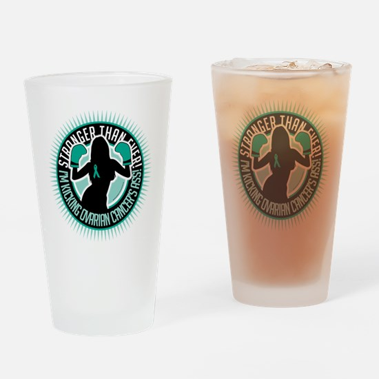 Ovarian-Cancer-Boxing-Girl Drinking Glass