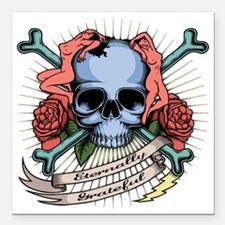 "skull-nudes-T Square Car Magnet 3"" x 3"""