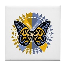 Psoriasis-Butterfly-Tribal-2-blk Tile Coaster