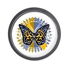 Psoriasis-Butterfly-Tribal-2-blk Wall Clock
