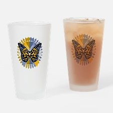 Psoriasis-Butterfly-Tribal-2-blk Drinking Glass