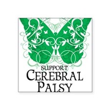 "Cerebral-Palsy-Butterfly Square Sticker 3"" x 3"""