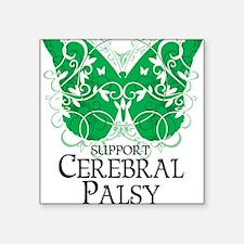 "Cerebral-Palsy-Butterfly Square Sticker 3"" x 3"""