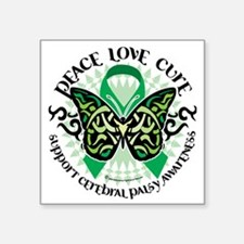 "Cerebral-Palsy-Butterfly-Tr Square Sticker 3"" x 3"""