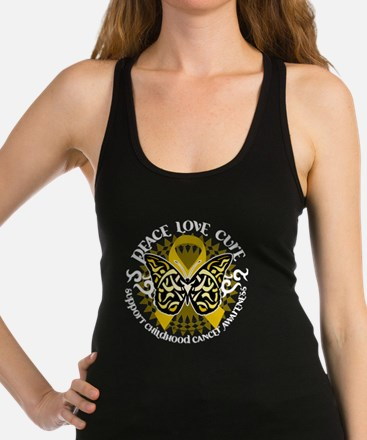 Childhood-Cancer-Butterfly-Trib Racerback Tank Top